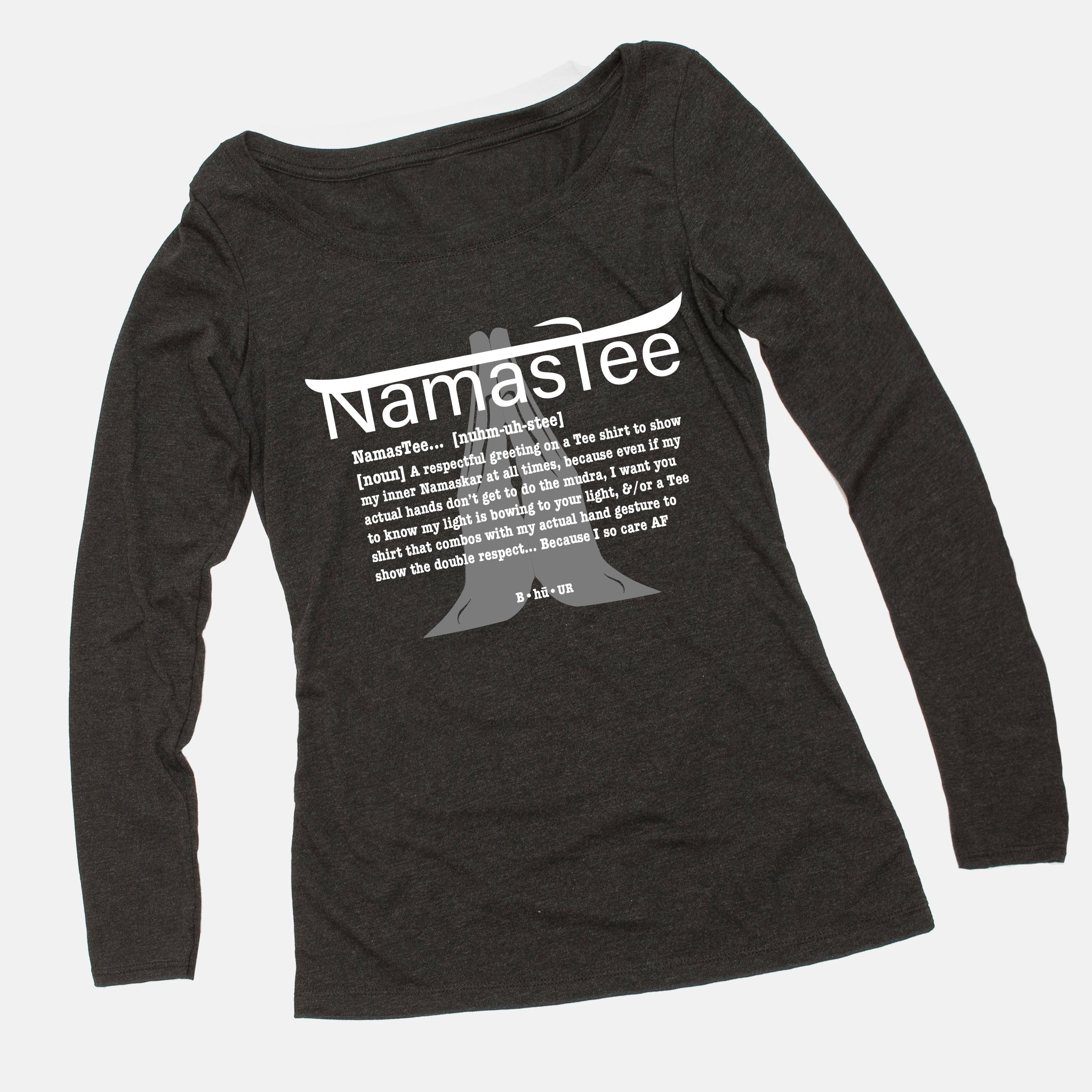 Namastee shirt : Women's Long Sleeve Scoop Tee (Charcoal)
