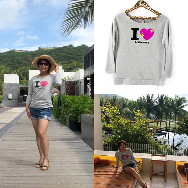 Love to see you Happy! Women's light weight Terry Raw Edge Raglan (Gray)