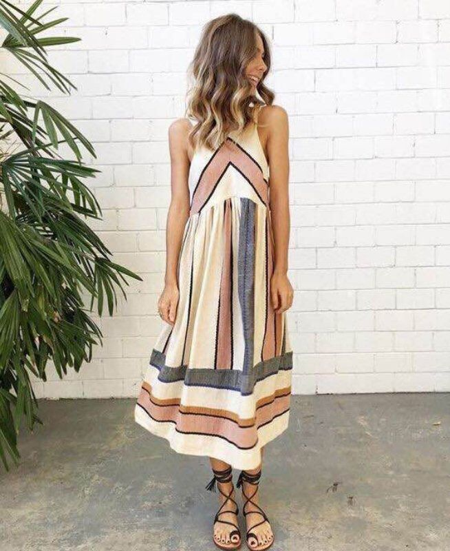 Women Summer Long Dress Boho Beach