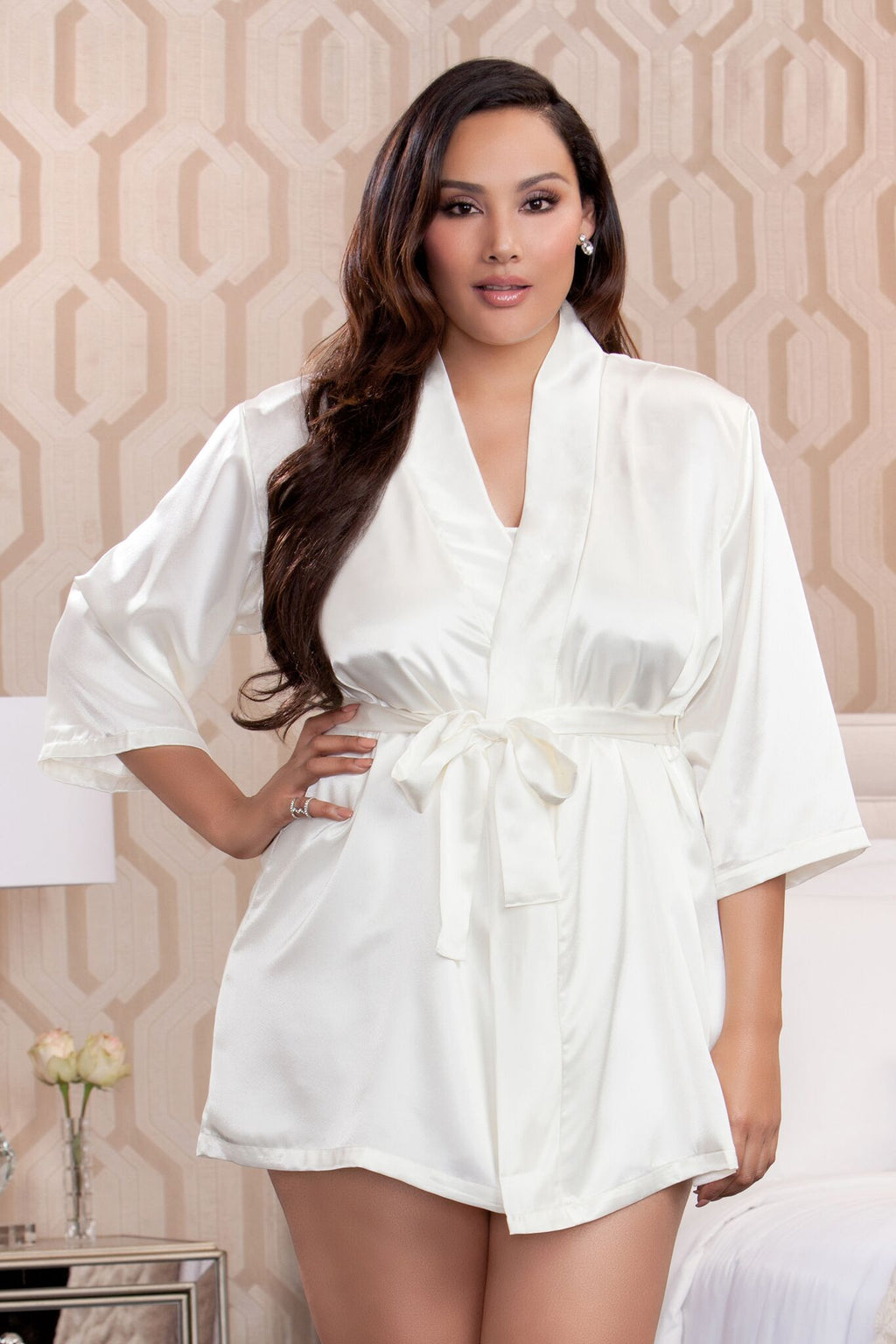 Comfort Zone Robe 3/4 Sleeve Plus Ivory
