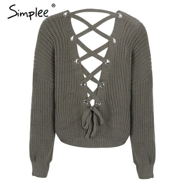 6f601f0721 Simplee Sexy hollow knitted pullover V neck backless lace up autumn ...