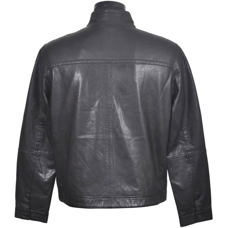 Men's Collarless  Leather  Jacket #02280172