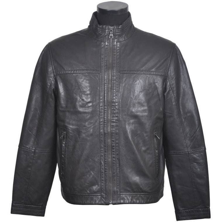 Men's Collarless  Leather  Jacket SR0228