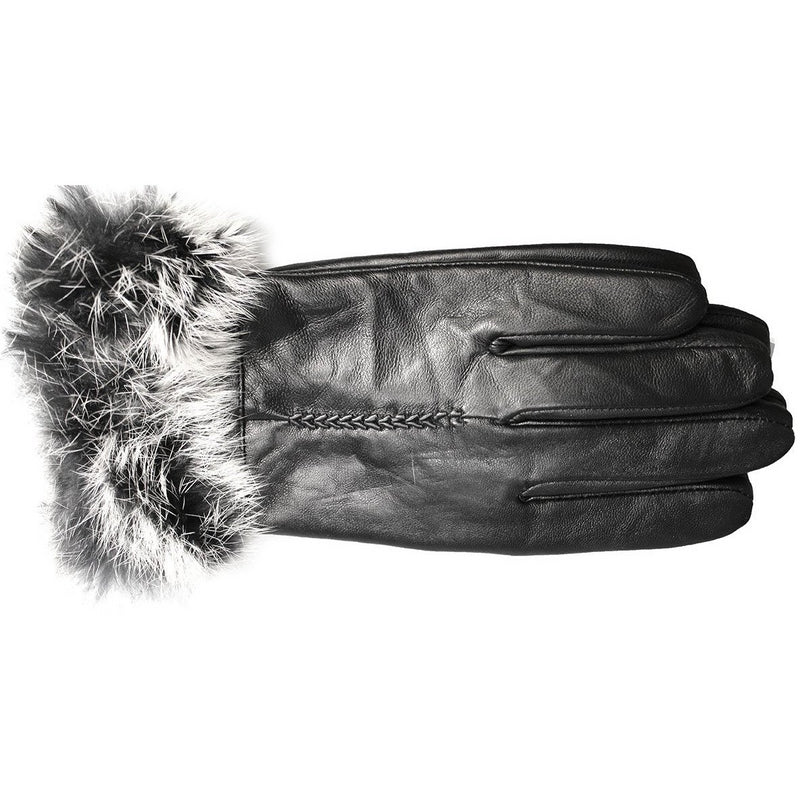 GLOVES 'RENDEZVOUS' FUR TRIMMED LEATHER GLOVES HHGL06