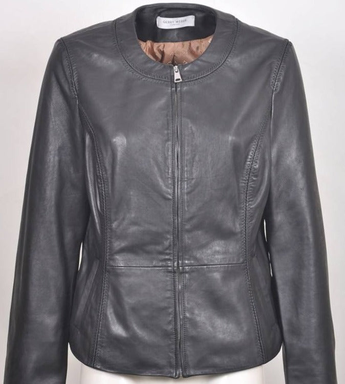 Women's Collarless Cropped Leather Jacket 230014