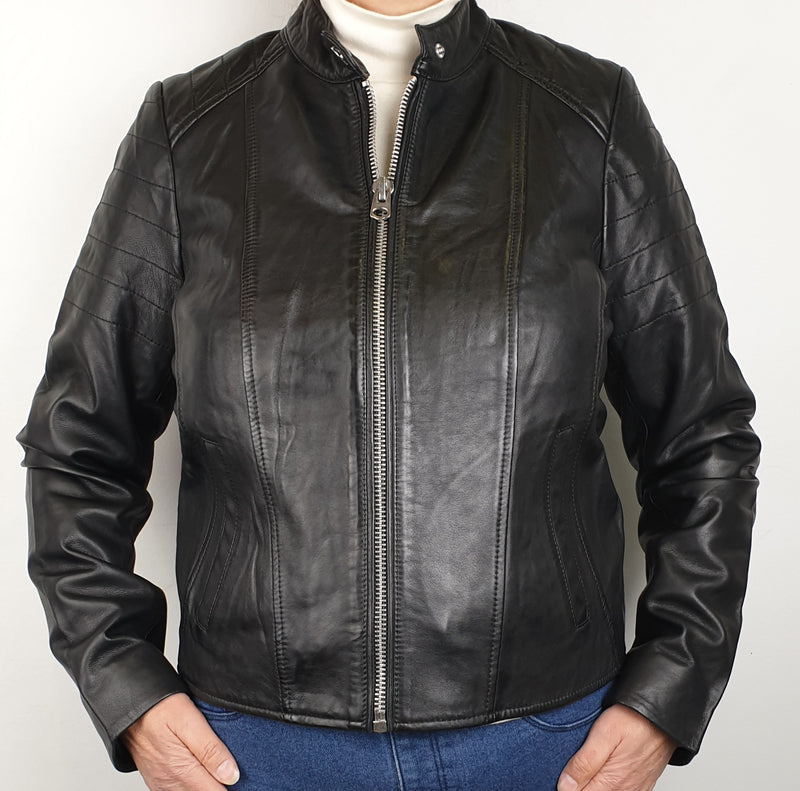 Women's Leather Zip Jacket 7WD3302