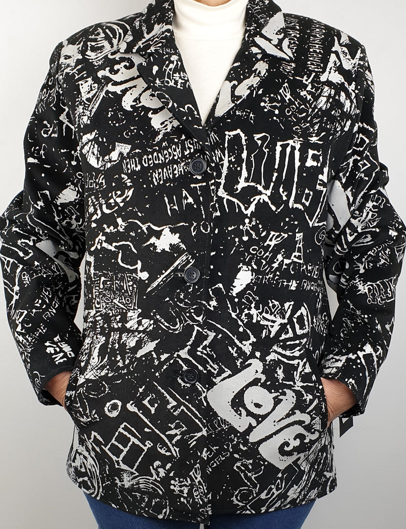 Graffiti Printed Suede Jacket