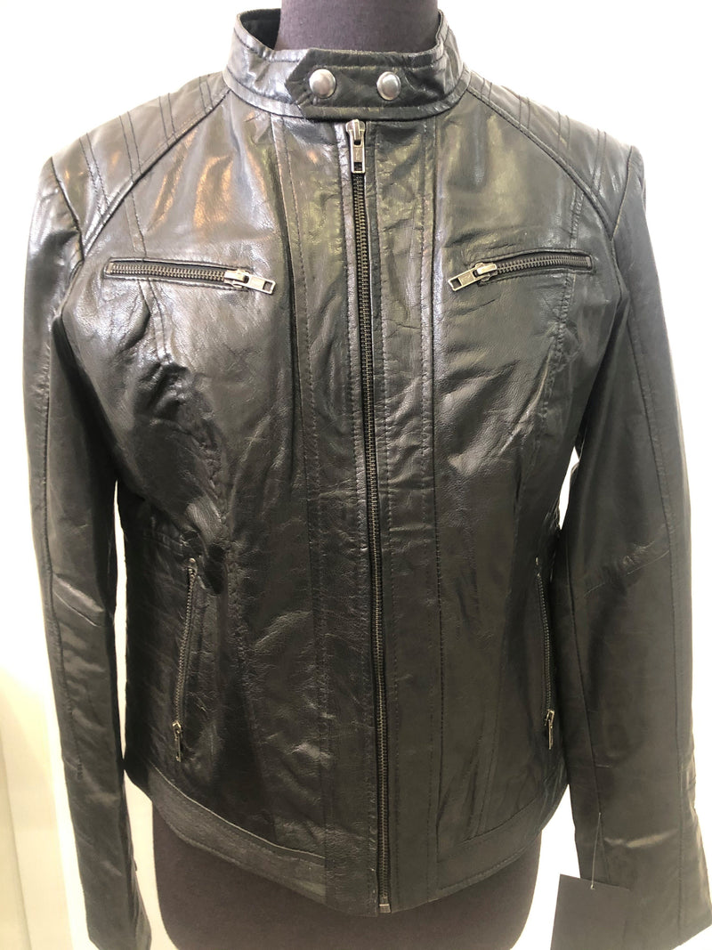 Women's Leather Short Zip Jacket 367007