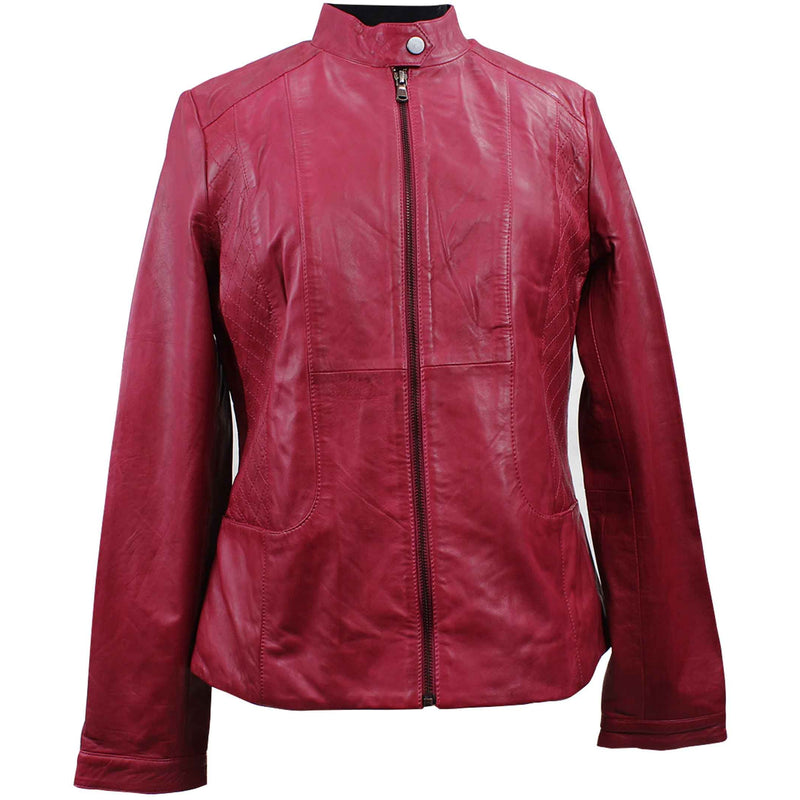 Women's Zip Leather Jacket - 44-6095