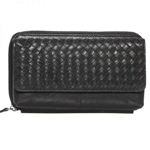 Modapelle Vintage Leather Woven Wallet on String 7293