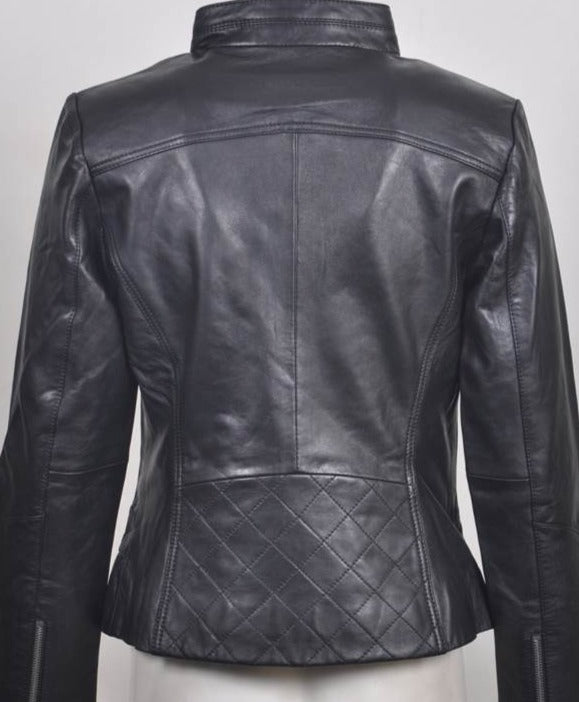 Women's Soft Leather Short Zip Jacket 748022