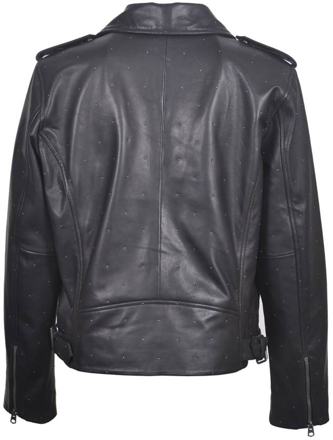 Women's Plonge Leather Studded Biker Jacket 7W31092