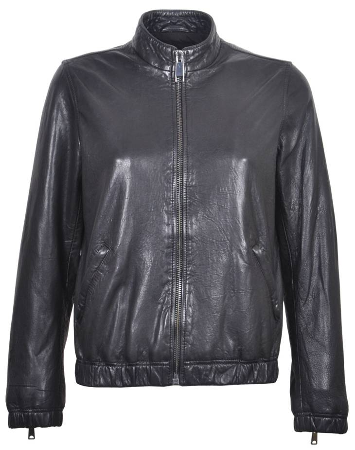 Womens Waxy Leather Zip Jacket 7W31181