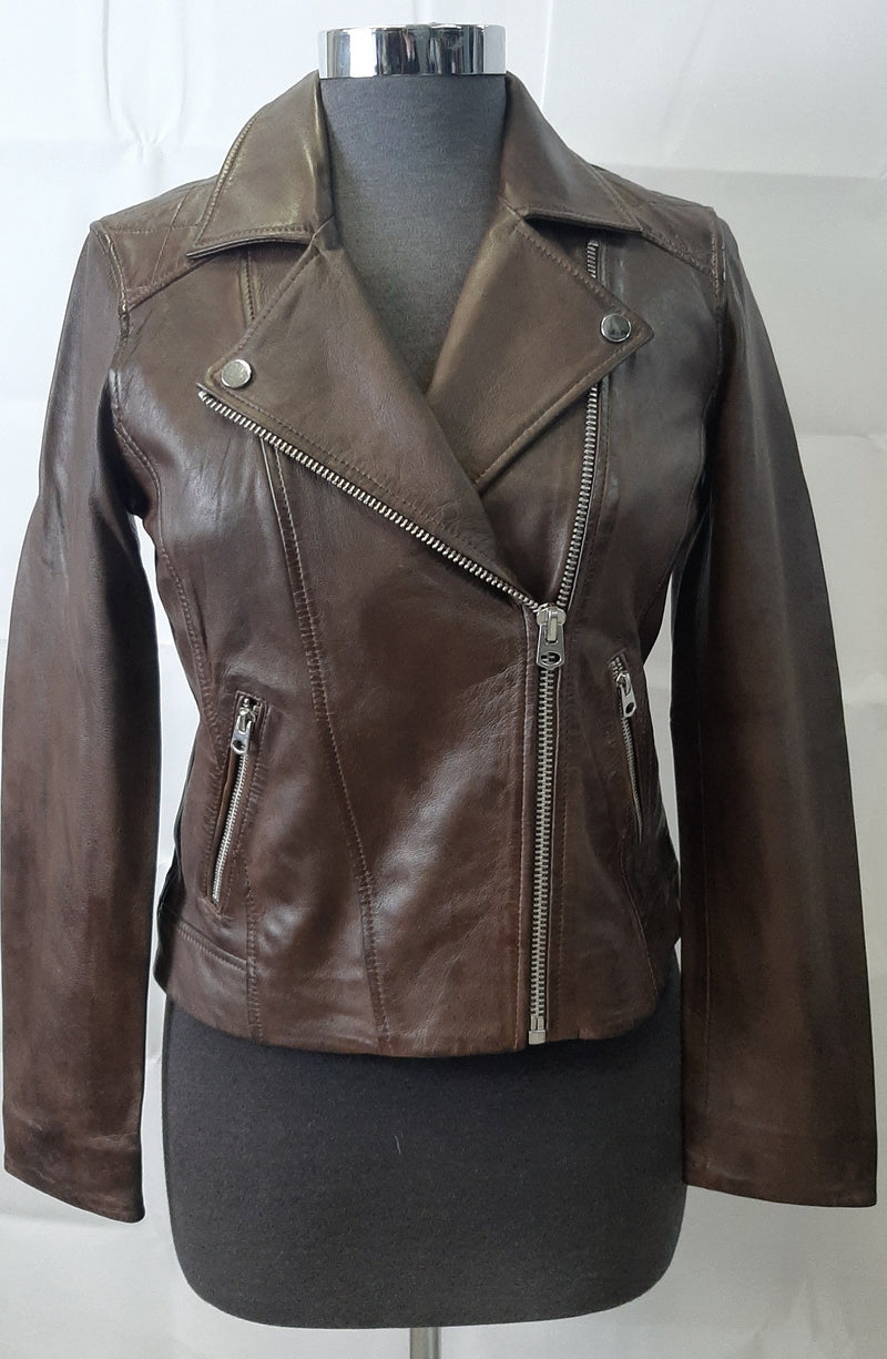 Women's Leather Zip Jacket 7WD3301