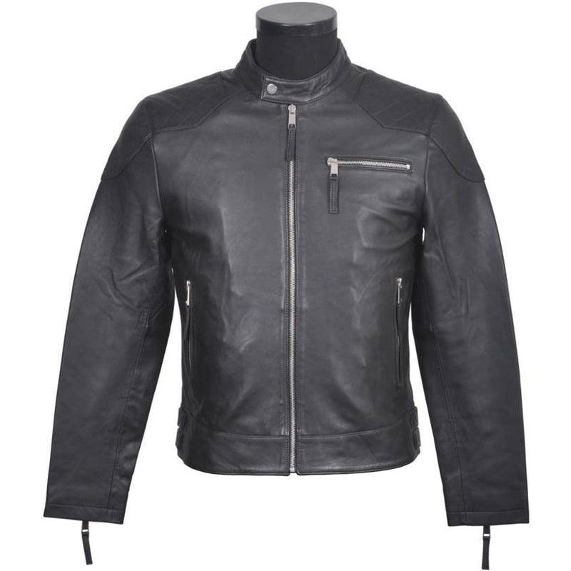 Men's Collarless Leather Jacket 9595