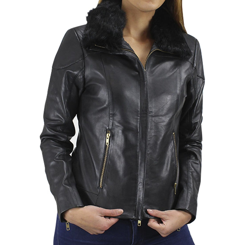 Carb Women's Leather Puffer Jacket
