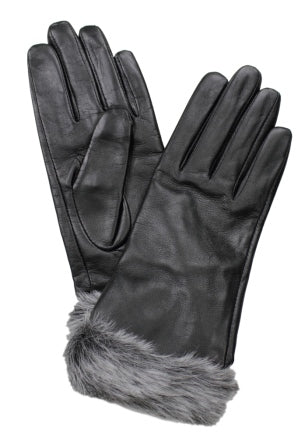 Dents Women's  Leather and Faux Fur Gloves DE77-0033