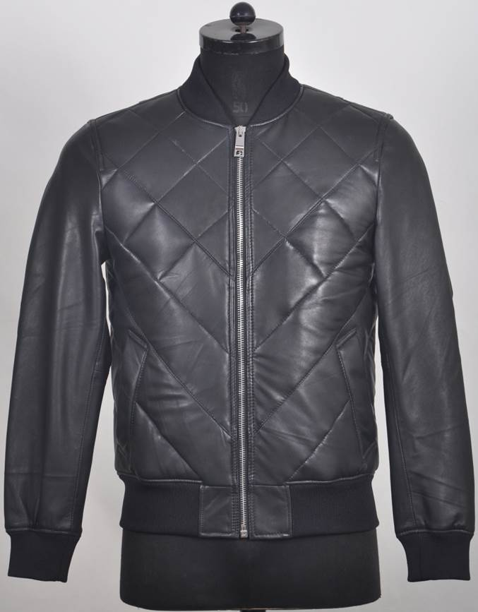 Duncan Men's Quilted Leather Zip Jacket