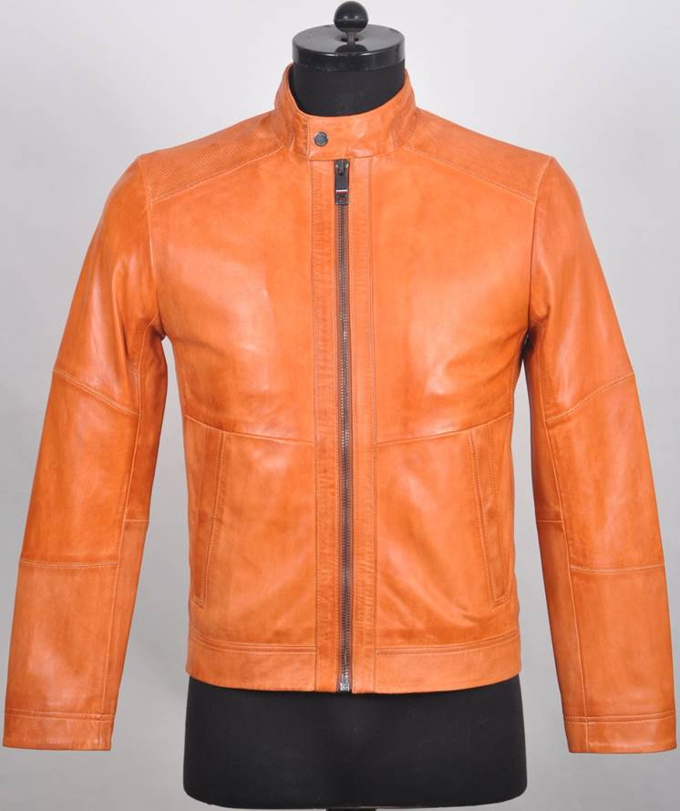Racer Men's Collarless  Leather  Jacket