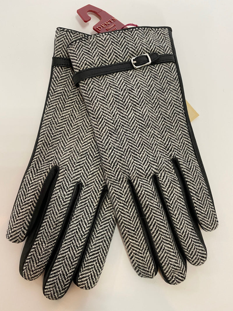 Dents Women's  Leather and Tweed Gloves DE77-0007