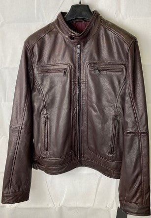 Men's Collarless  Leather  Jacket 1043