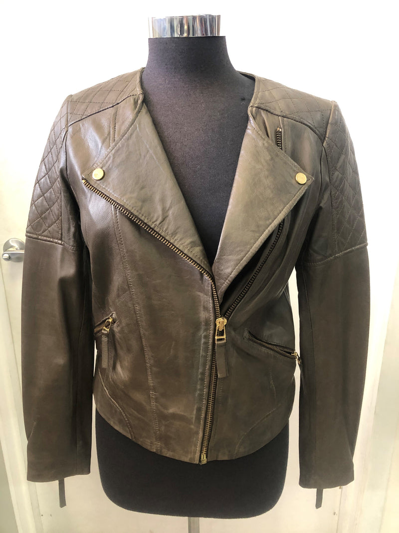 Women's Leather Short Zip Jacket MD3180