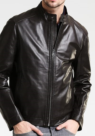 Mike Men's Leather Zip Jacket