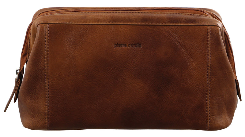Pierre Cardin Men's Rustic Leather Toilet Bag PC2803