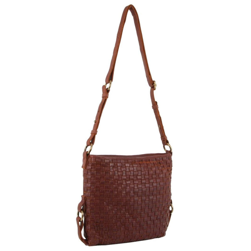 Pierre Cardin Woven Rustic Leather Cross-Body Bag PC3122