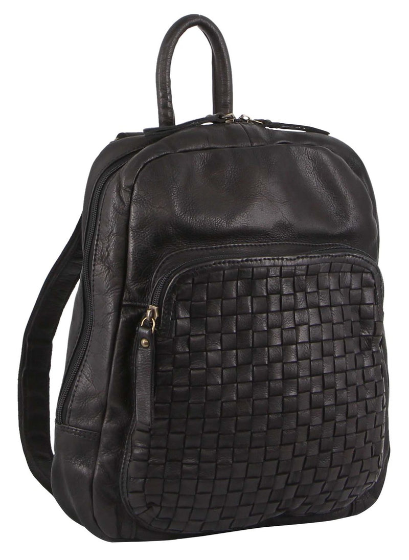 Pierre Cardin Rustic Leather Woven Backpack PC3123