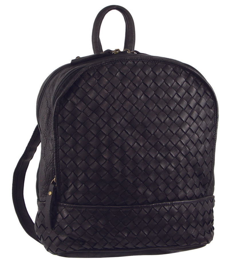 Pierre Cardin Rustic Leather Woven Backpack PC3140