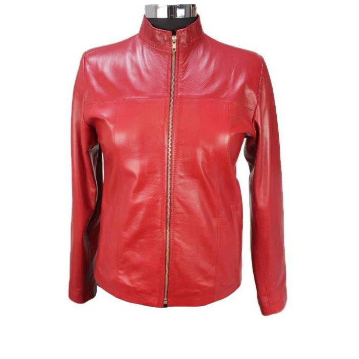 Siricco Women's Classic Zip Leather Jacket  SI037L- Made in Australia