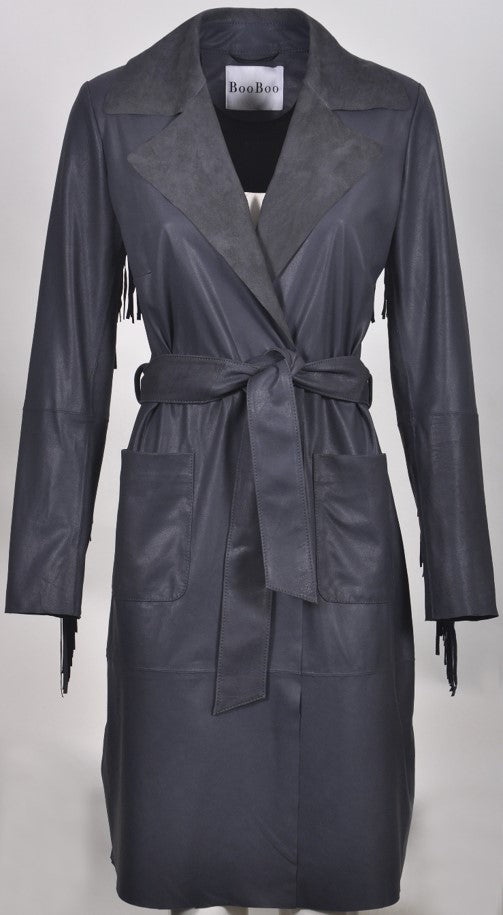 Shiri Fringed Women's Napalon Leather  Coat