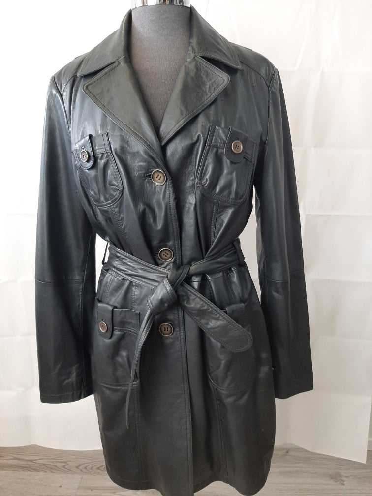 Women's Leather Double Breasted Trench Jacket SR29560