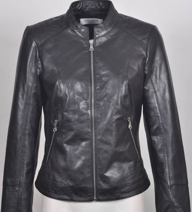 Women's Italian Leather Zip Jacket  SR330035