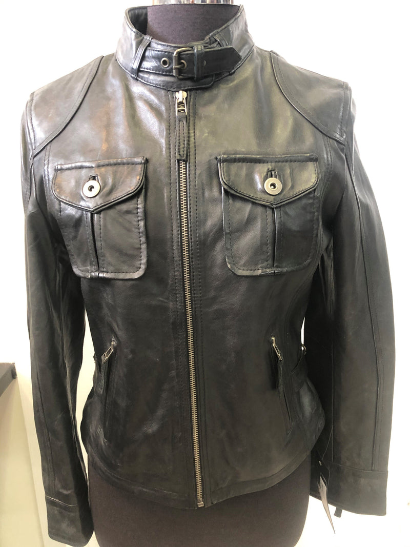 SREGO Women's Leather Biker Jacket