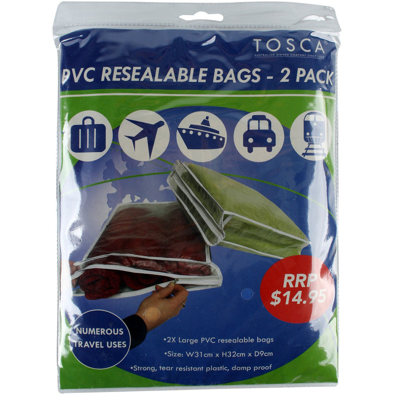 Tosca PVC Resealable Bags - 2 Pack TCA014
