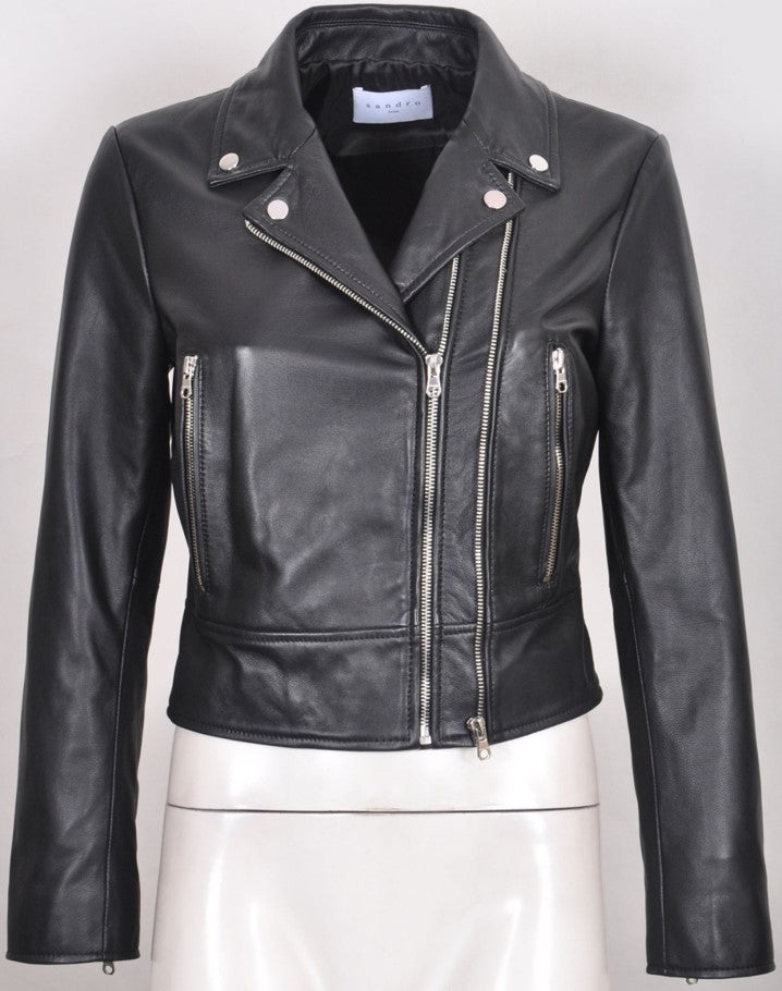 Thora Women's Italian Leather Biker Jacket