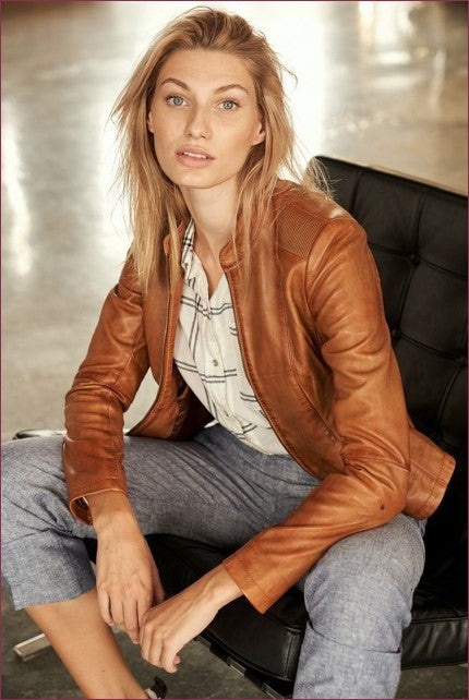 Abigail Women's Zip Leather Jacket