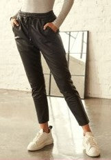 Carillo Drawstring  Leather Trousers