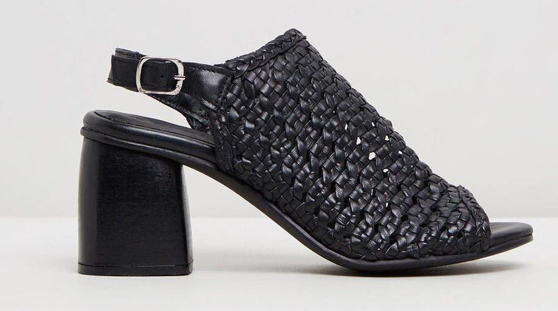 Human Premium  Daffy Woven Leather Block Heel Sandal