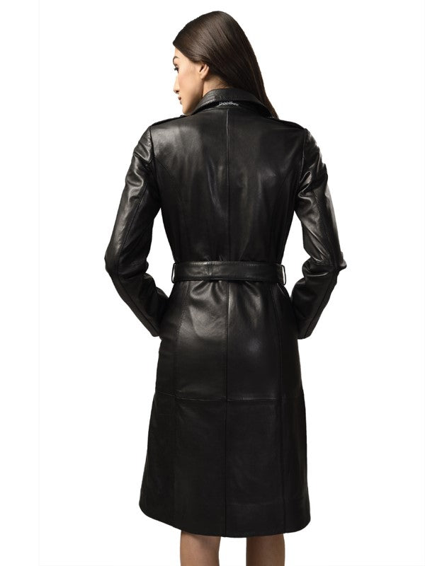 Kim Women's Leather Long Trench Coat