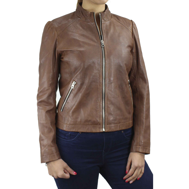 Women's Leather Zip Jacket  7WD3237