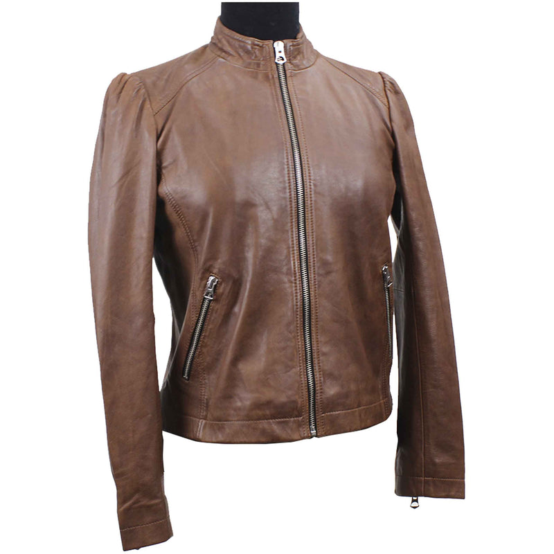 Women's Leather Biker Jacket  7WD3237 - Brown
