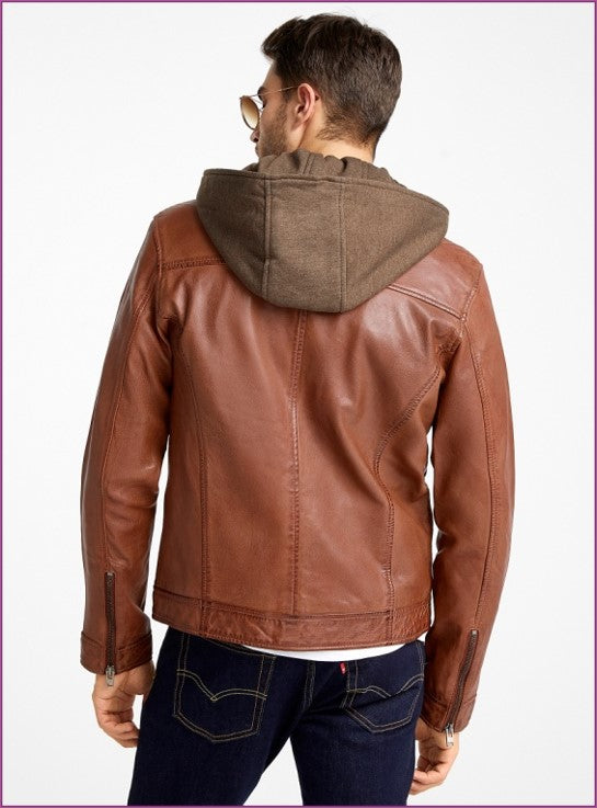 Marcos Men's Hooded Leather Jacket