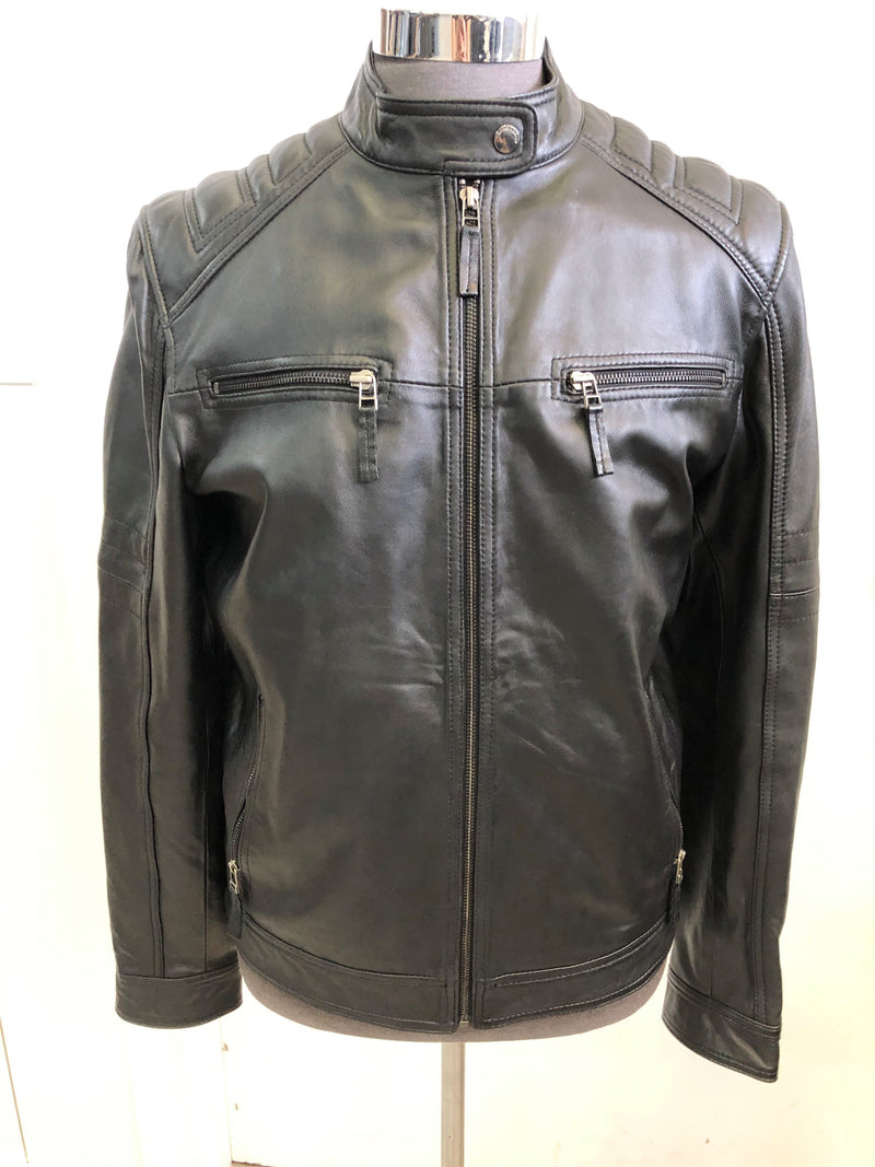 Mission Men's Button Leather Jacket