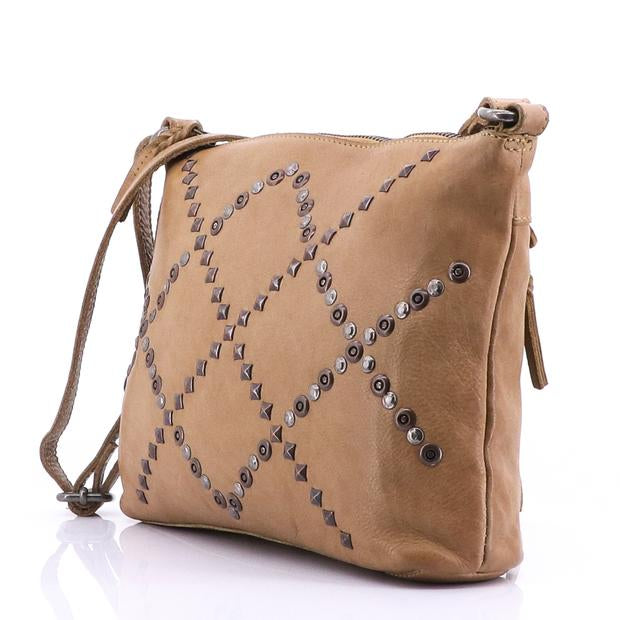 Modapelle Vintage Leather Studded Crossbody Bag 5951