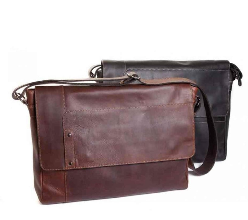Oran Obsidian Waxy Leather Messenger Bag  RH617