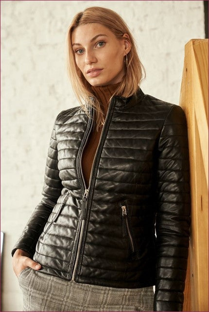 Padded Women's Zip Leather Jacket