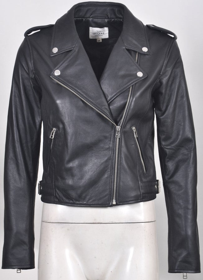 Women's Perf Ziggy Zip Leather Biker